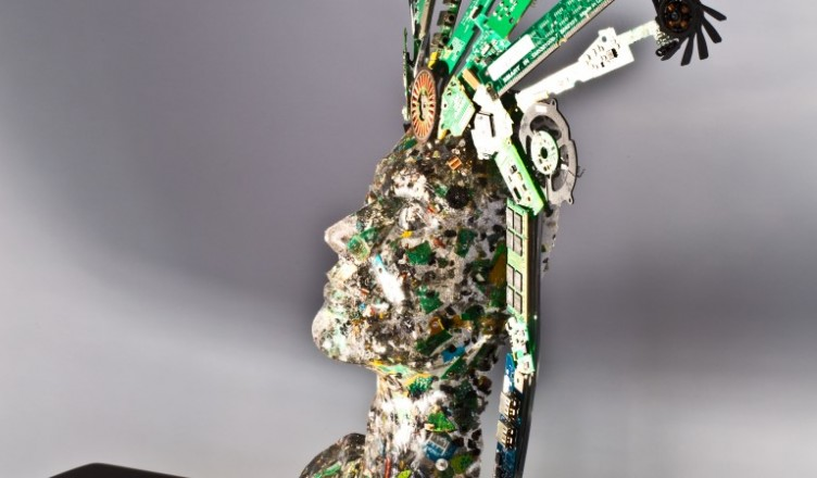 21st Century Girl. resin and computer parts. Artist Lindsey Piper